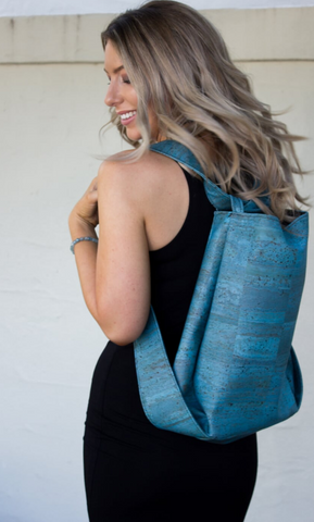 Cork CONVERTIBLE Backpack/Shoulder Bag - Light Blue