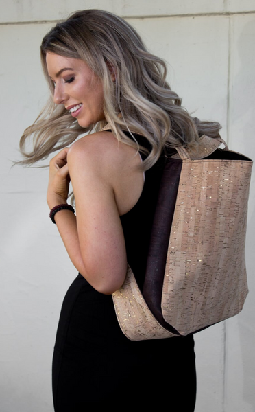 Cork CONVERTIBLE Backpack/Shoulder Bag - Natural Gold Fleck/Choc (Reversible)