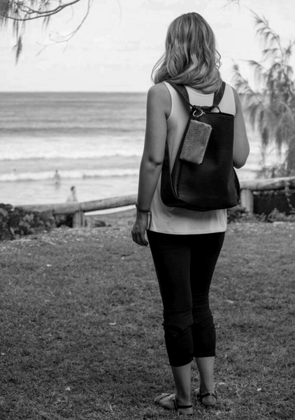 Cork CONVERTIBLE Backpack/Shoulder Bag - Black/Mercury (Reversible) *MADE TO ORDER