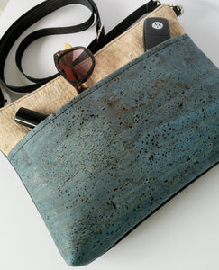 Cork Crossbody Bag/Clutch with Pocket-Light Blue/White Croc *MADE TO ORDER