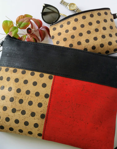 Cork Crossbody Bag/Clutch with 3 Panels-Black/Red/Polka Dot *MADE TO ORDER