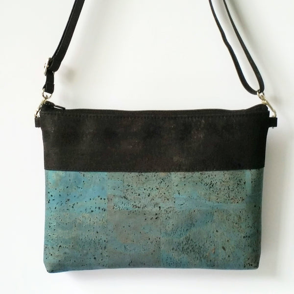Cork Crossbody Bag/Clutch - Light Blue