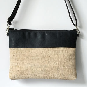 Cork Crossbody Bag/Clutch - White Croc/Navy