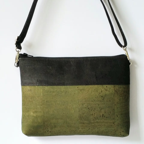 Cork Crossbody Bag/Clutch - Olive Green