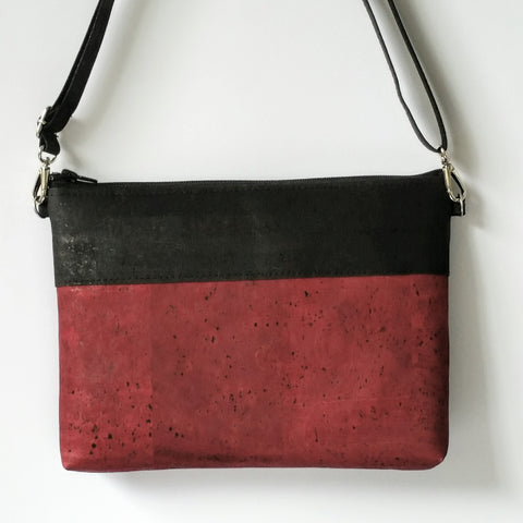 Cork Crossbody Bag/Clutch - Burgundy