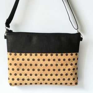 Cork Crossbody Bag/Clutch - Polka Dots