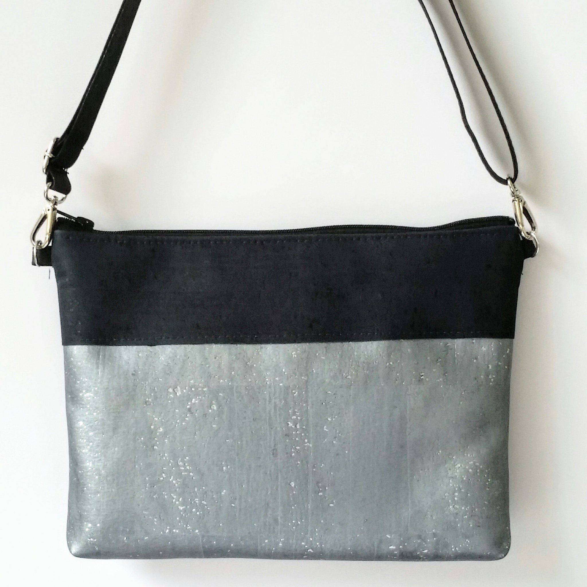 Cork Crossbody Bag/Clutch - Mercury/Navy