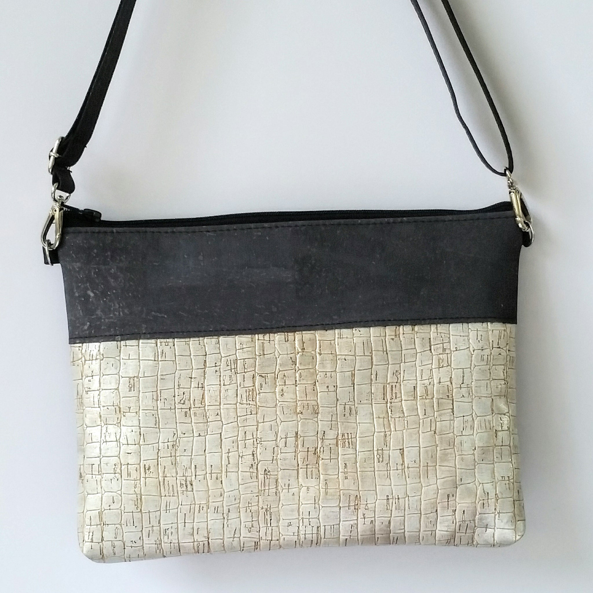 Cork Crossbody Bag/Clutch - Silver/Charcoal Grey