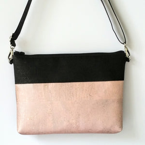 Cork Crossbody Bag/Clutch - Soft Pink Rose Gold *MADE TO ORDER