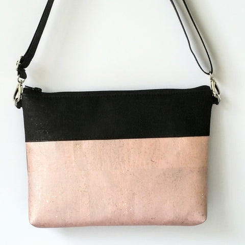 Cork Crossbody Bag/Clutch - Soft Pink Rose Gold