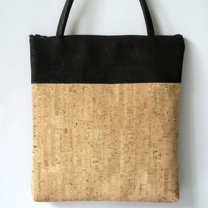 Cork Tote Bag - Natural Gold Fleck/Black *MADE TO ORDER