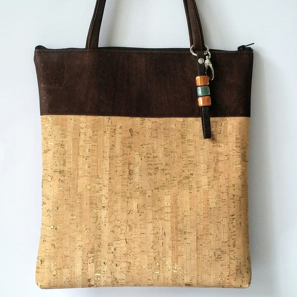 Cork Tote Bag - Natural Gold Fleck/Chocolate *MADE TO ORDER