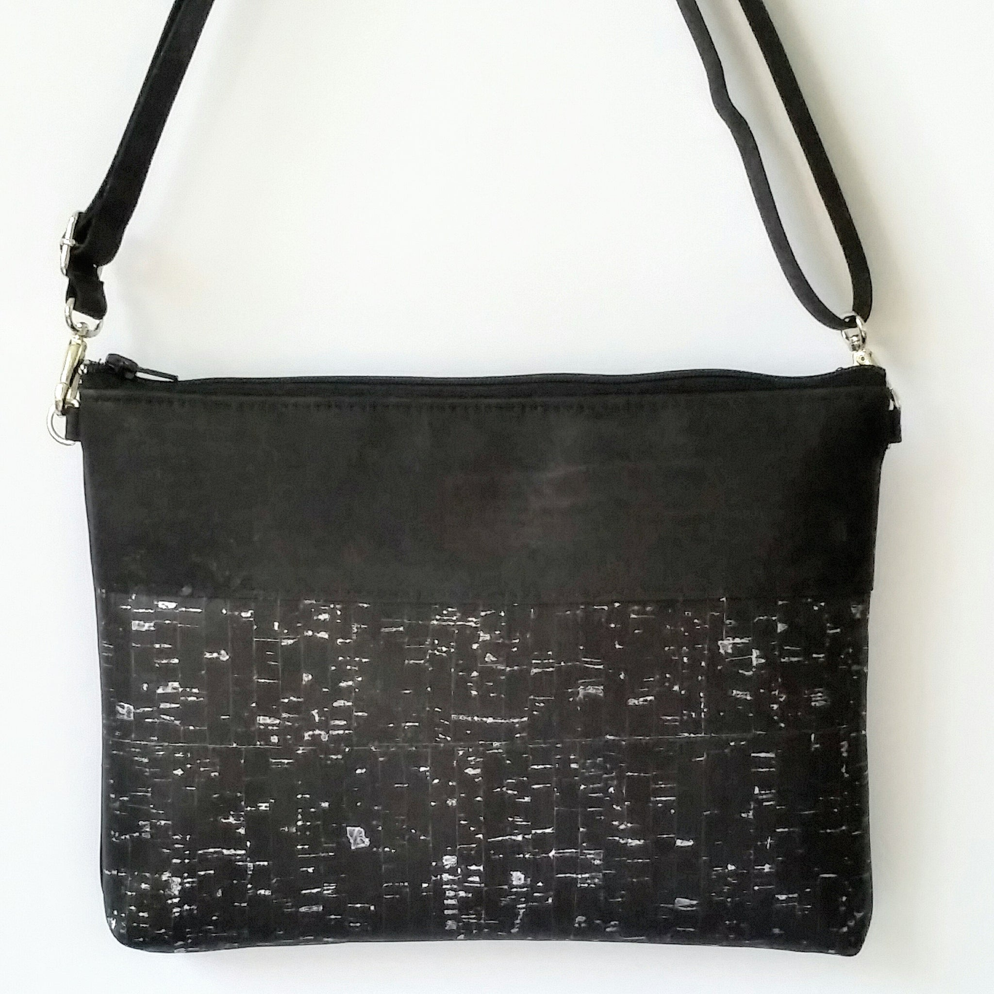 Cork Crossbody Bag/Clutch - Black Silver Fleck *MADE TO ORDER