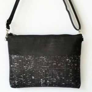 Cork Crossbody Bag/Clutch - Black Silver Fleck