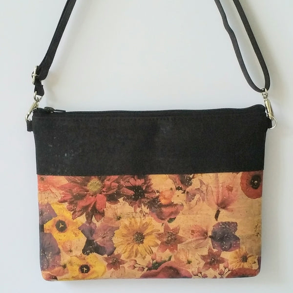 Cork Crossbody Bag/Clutch - Vintage Floral
