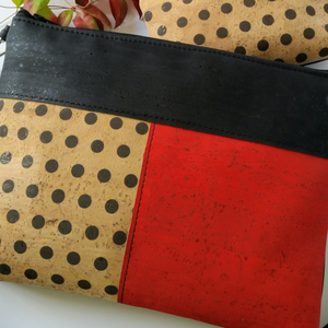 Cork Crossbody Bag/Clutch with 3 Panels-Black/Red/Polka Dot