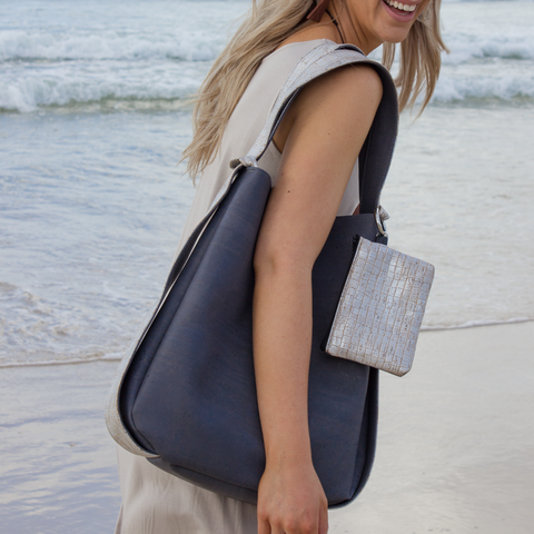Cork CONVERTIBLE Backpack/Shoulder Bag - Silver/Charcoal Grey (Reversible)