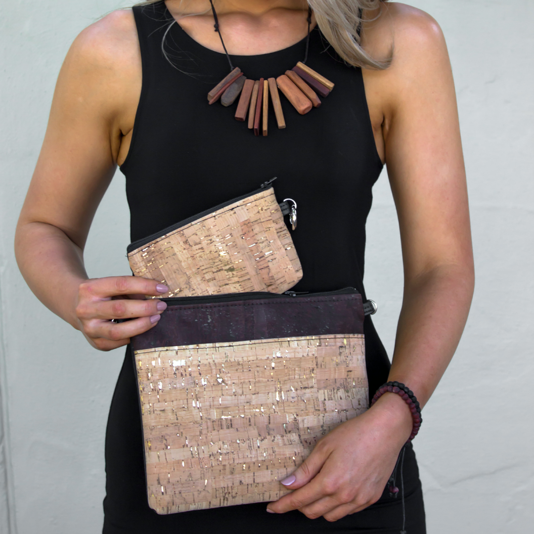 Cork Crossbody Bag/Clutch - Natural Gold Fleck/Choc