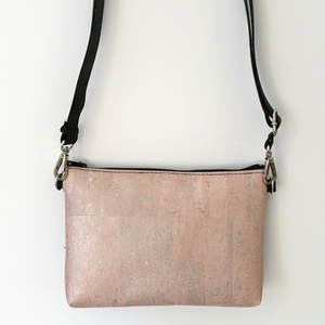 Cork Hipster/Crossbody Bag - Soft Pink Rose Gold