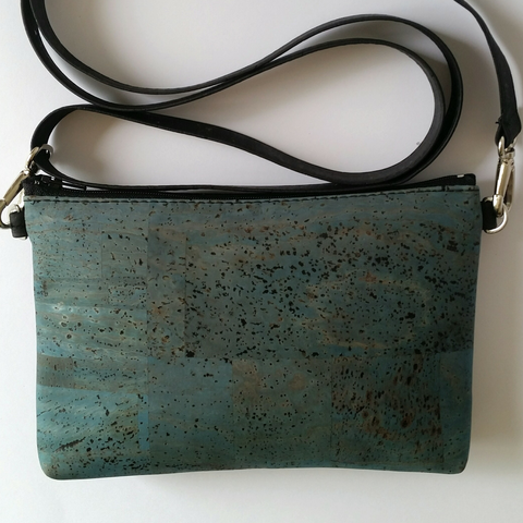 Cork Hipster/Crossbody Bag - Light Blue