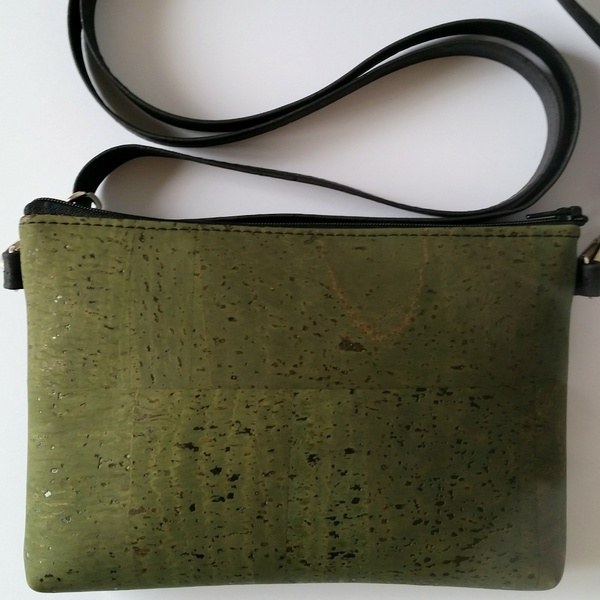 Cork Hipster/Crossbody Bag - Olive Green