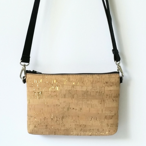 Cork Hipster/Crossbody Bag - Natural Gold Fleck