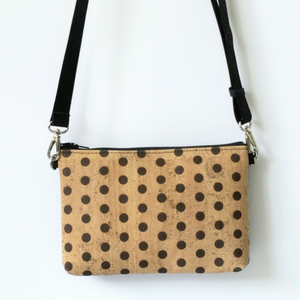 Cork Hipster/Crossbody Bag - Polka Dots
