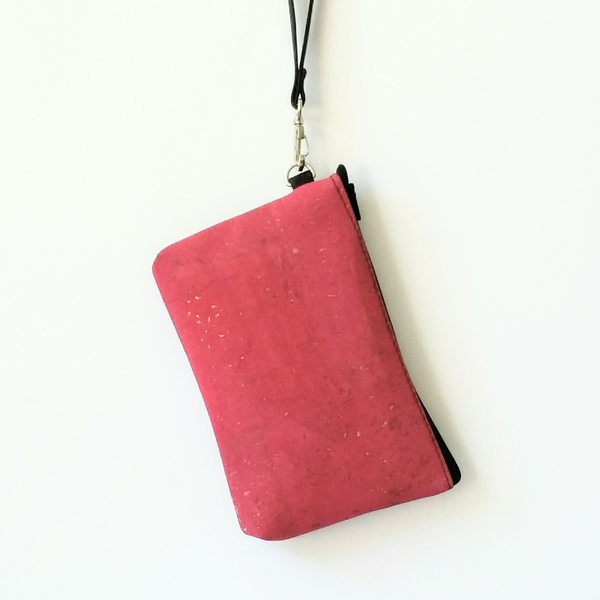 Cork Phone/Makeup Purse - Fuchsia Pink