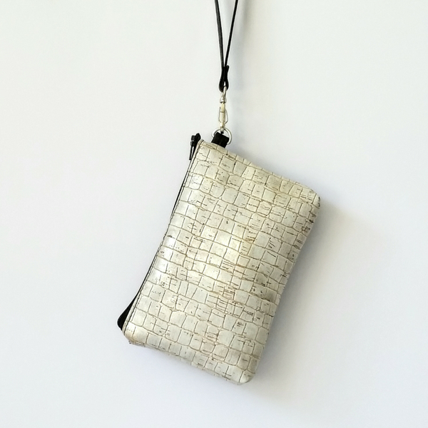 Cork Phone/Makeup Purse - Silver/Black