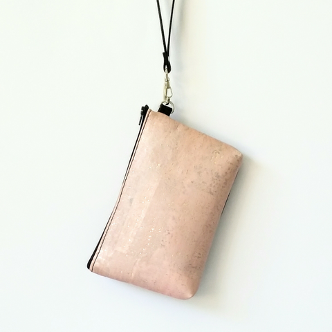 Cork Phone/Makeup Purse - Soft Pink Rose Gold