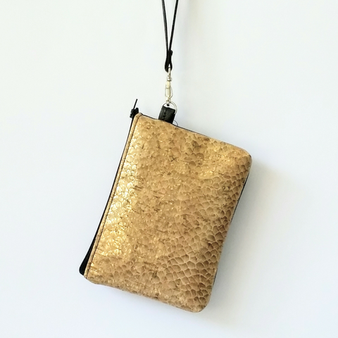 Cork Phone/Makeup Purse - Antique Gold