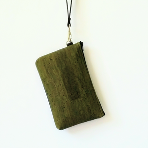 Cork Phone/Makeup Purse - Olive Green