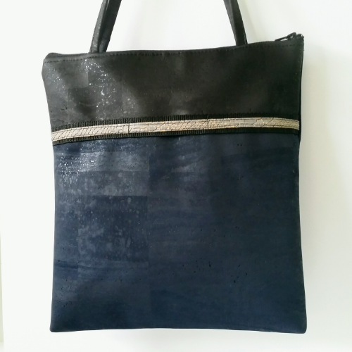 Cork Tote Bag with Sunglass Holder - Navy/Black *MADE TO ORDER