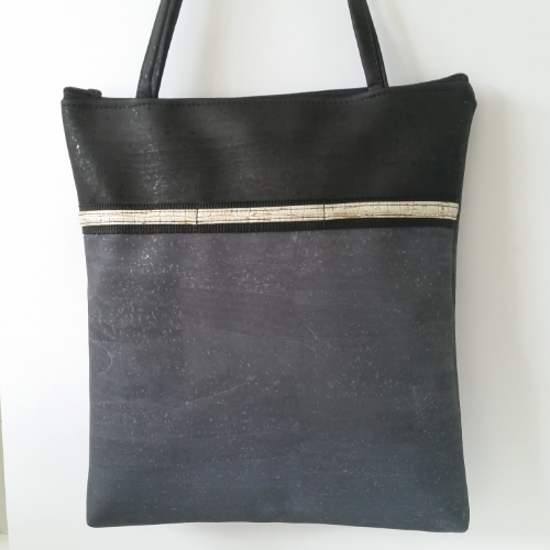 Cork Tote Bag with Sunglass Holder - Charcoal/Black