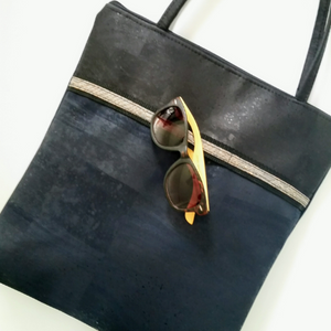 Cork Tote Bag with Sunglass Holder - Navy/Black