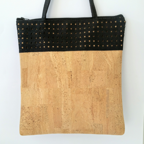 Cork Tote Bag - Laser Cut Black/Natural *MADE TO ORDER