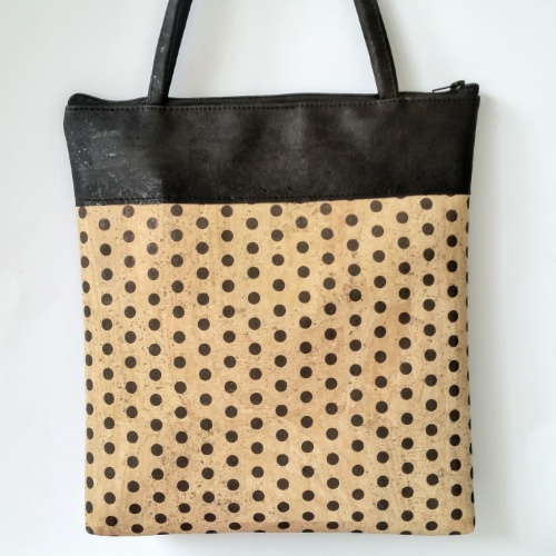 Cork Tote Bag - Polka Dots/Black