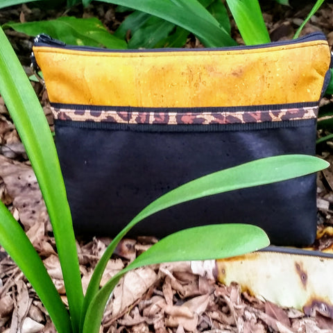 Cork Crossbody Bag/Clutch with Sunglass Holder - Mustard/Black/Chocolate *MADE TO ORDER