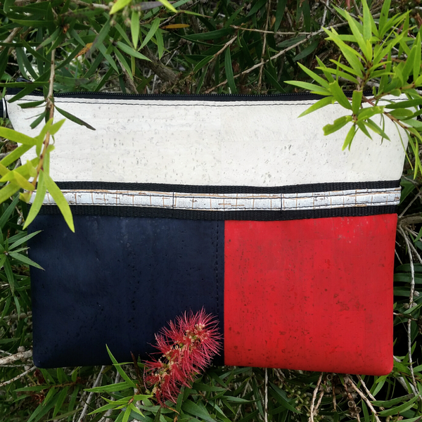 LIMITED Edition Cork Crossbody Bag/Clutch with 3 Panels & Sunglass Holder - Sea Sand/Navy/Red *MADE TO ORDER