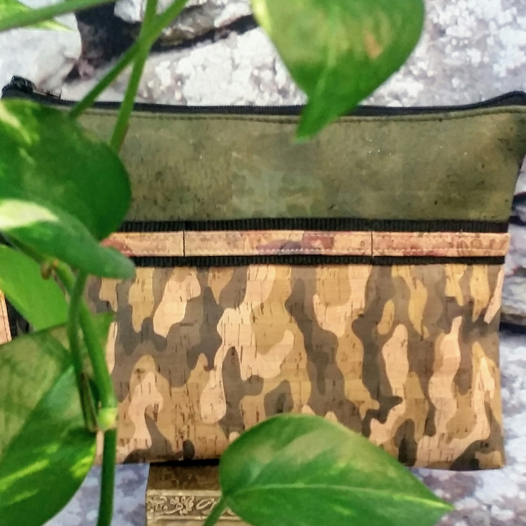 LIMITED Edition Cork Crossbody Bag/Clutch with Sunglass Holder - Olive Green/Camouflage