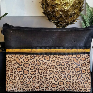 LIMITED Edition Cork Crossbody Bag/Clutch with Sunglass Holder - Black/Sunshine Leopard *MADE TO ORDER