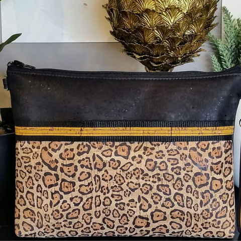 LIMITED Edition Cork Crossbody Bag/Clutch with Sunglass Holder - Black/Sunshine Leopard