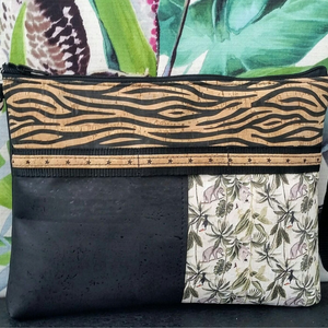LIMITED Edition Cork Crossbody Bag/Clutch with 3 Panels & Sunglass Holder - Black & Natural Zebra/Black/Amazonia *MADE TO ORDER