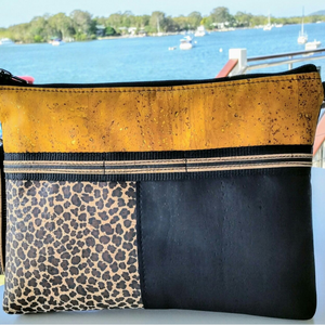 LIMITED Edition Cork Crossbody Bag/Clutch with 3 Panels & Sunglass Holder - Mustard/Leopard/Black *MADE TO ORDER