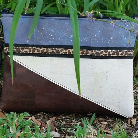 LIMITED Edition Cork Crossbody Bag/Clutch with 3 Panels & Sunglass Holder - Cornflower Blue/Sea Sand/Choc *MADE TO ORDER