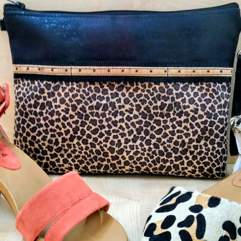 LIMITED Edition Cork Crossbody Bag/Clutch with Sunglass Holder - Black/Leopard Print