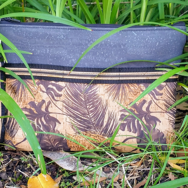 LIMITED Edition Cork Crossbody Bag/Clutch with Sunglass Holder - Charcoal/Sunshine Leaf Print *MADE TO ORDER