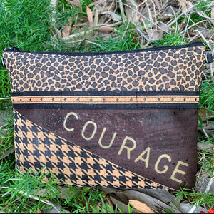 TOTEM Power Word Cork Crossbody Bag/Clutch with 3 Panels - Leopard/Choc/Houndstooth