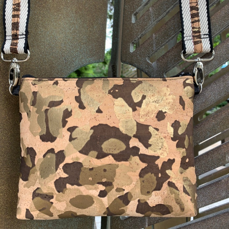 LIMITED Edition CORK Petite Clutch/Shoulder Bag - Gold Camo with Customised Shoulder Strap *MADE TO ORDER