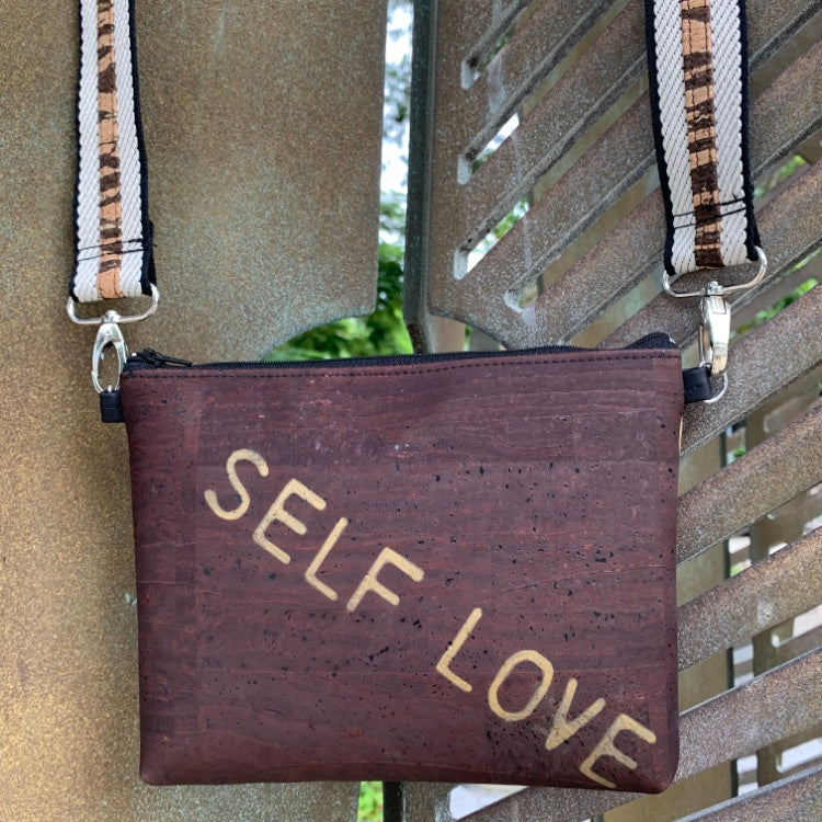 TOTEM Power Word CORK Petite Clutch/Shoulder Bag - Chocolate with Customised Shoulder Strap *MADE TO ORDER